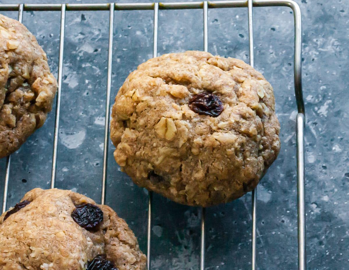 Oatmeal Raisin Cookies on a baking sheet