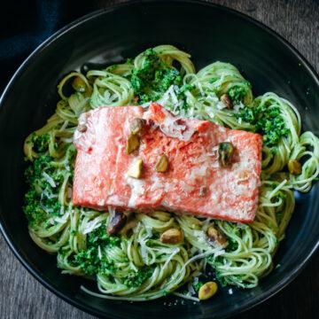 Sautéed Salmon on a bed of ramp pesto pasta