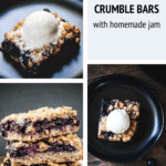 3 crumble bars stacked on top of one another with a glass of milk and strawberries and blueberries on the side