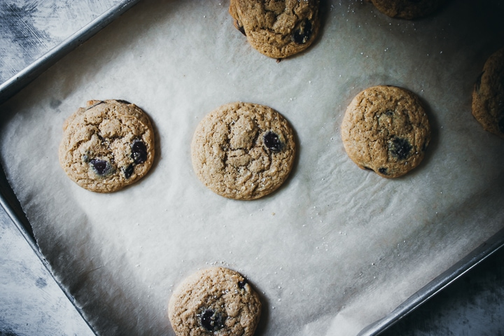 small batch chocolate chip cookies on a baking sheet