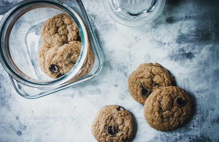 chocolate chip cookies in a cook jar with cookies on the side