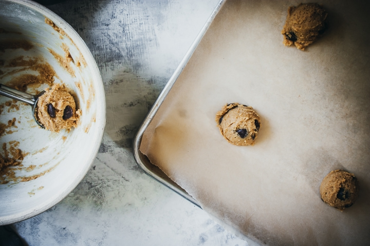 scooped cookie dough onto cookie sheets