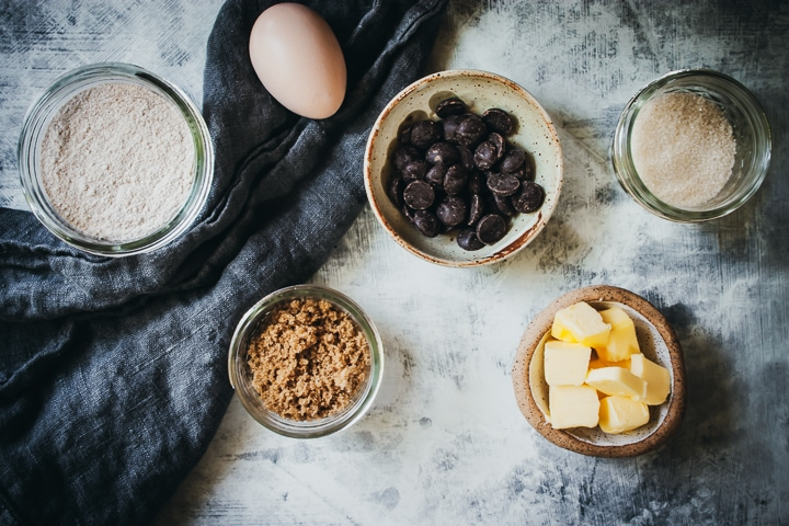 ingredients for small batch chocolate chip cookies in small bowls