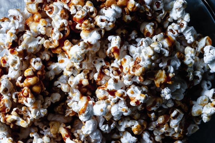 close-up of salted caramel popcorn