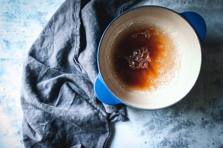 golden brown sugar and water mixture